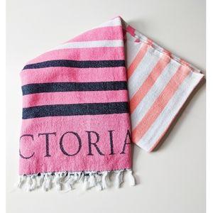 Victoria Secret Striped Fringe Throw Beach Blanket